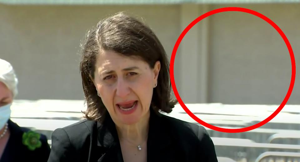 While Ms Berejiklian boasted of enthusiastic vaccine recipients, there was very few people around. Source: ABC