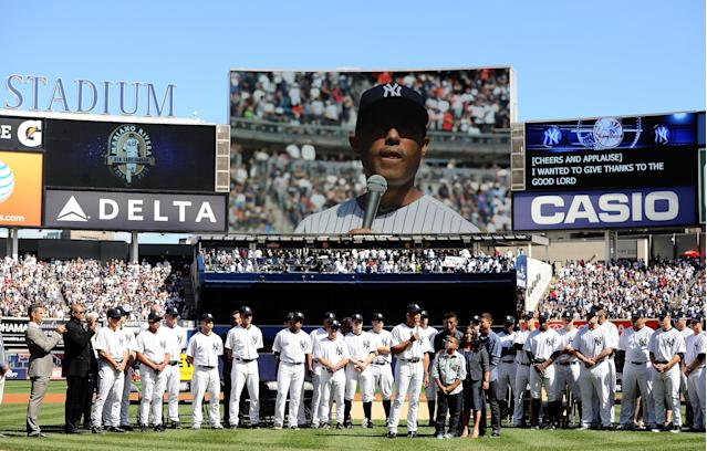 NEW YORK, NY - SEPTEMBER 22: Mariano Rivera #42 of the New York Yankees speaks to the crowd during the Mariano Rivera Day pregame ceremony on September 22, 2013 at Yankee Stadium in the Bronx borough of New York City. (Photo by Maddie Meyer/Getty Images)