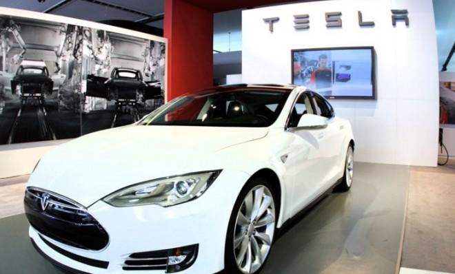 A Tesla Model S on display at the 2012 North American International Auto Show last January.