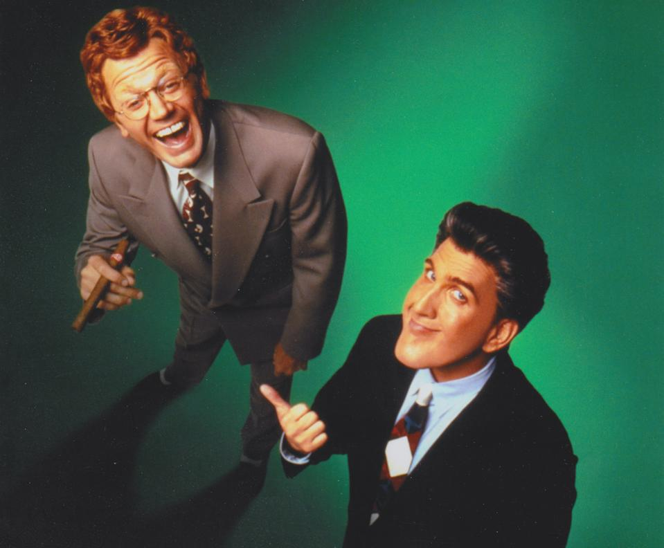 John Michael Higgins as David Letterman and Daniel Roebuck as Jay Leno in the movie version of 'The Late Shift' (Photo: Courtesy Daniel Roebuck)
