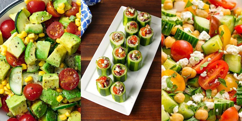 """<p>Cucumbers are that super fresh ingredient that will take your <a href=""""https://www.delish.com/uk/cooking/recipes/g32997531/summer-salads/"""" rel=""""nofollow noopener"""" target=""""_blank"""" data-ylk=""""slk:Summer Salad"""" class=""""link rapid-noclick-resp"""">Summer Salad</a> go from 0 to 100 real quick. We simply love the refreshing flavours that come from the crunch of a cucumber and in all honestly, we could eat them as they come. But, if you happen to yourself not using cucumber as much as you would like, then check out a selection of our favourite cucumber recipes, that will give you the fresh inspiration you need. Whilst we're here, did you know that <a href=""""https://www.delish.com/uk/food-news/a32877572/how-to-store-cucumbers-fruit/"""" rel=""""nofollow noopener"""" target=""""_blank"""" data-ylk=""""slk:cucumbers are actually a fruit"""" class=""""link rapid-noclick-resp"""">cucumbers are actually a fruit</a>?</p>"""