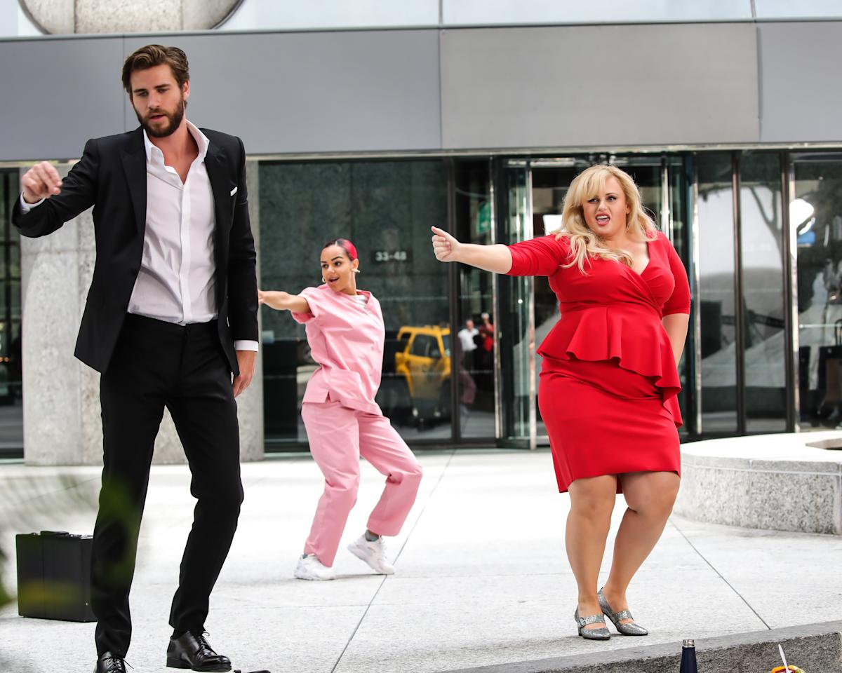 <p>Australian actors Rebel Wilson and Liam Hemsworth broke out into dance in New York City over the weekend, but it is for a legitimate reason. Source: Getty </p>