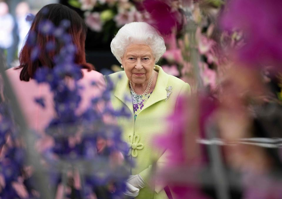 Britain's Queen Elizabeth II visits the 2019 RHS Chelsea Flower Show in London on May 20, 2019. - The Chelsea flower show is held annually in the grounds of the Royal Hospital Chelsea. (Photo by Geoff Pugh / POOL / AFP)        (Photo credit should read GEOFF PUGH/AFP via Getty Images)