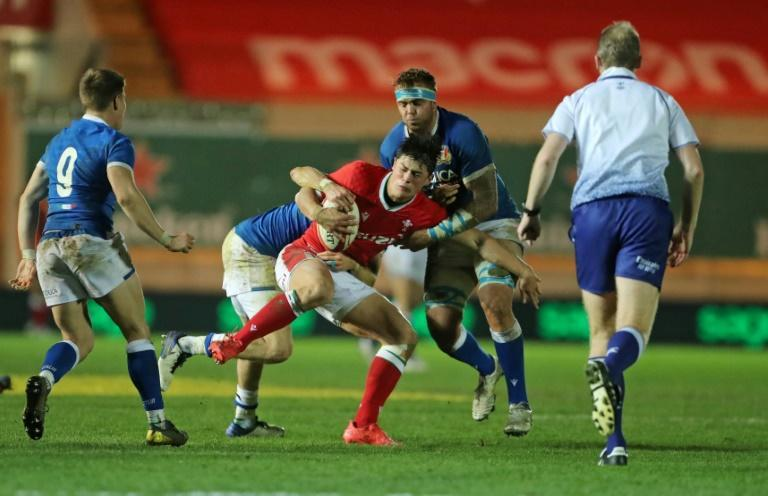 Well-taken try - Wales wing Louis Rees-Zammit (C), pictured in Autumn Nations Cup action against Italy