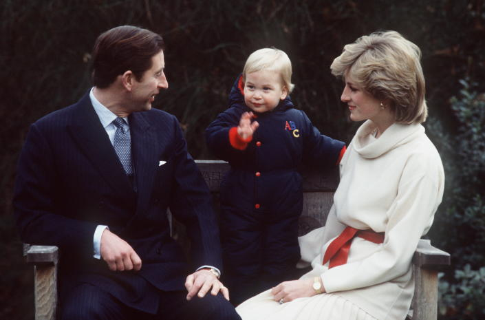 LONDON, UNITED KINGDOM - DECEMBER 14:  Prince Charles, Prince William (age Approx 18 Months) And Princess Diana At Kensington Palace.  (Photo by Tim Graham Photo Library via Getty Images)