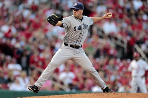 San Diego Padres starting pitcher Clayton Richard works during the first inning of a baseball game against the St. Louis Cardinals, Monday, May 21, 2012, in St. Louis. (AP Photo/Jeff Roberson)