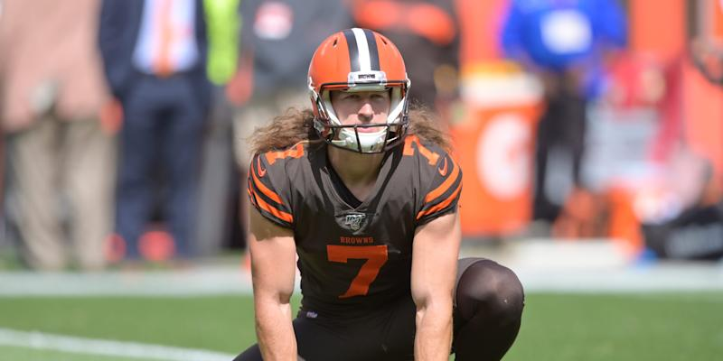 Cleveland Browns punter Jamie Gillan warms up before an NFL football game.