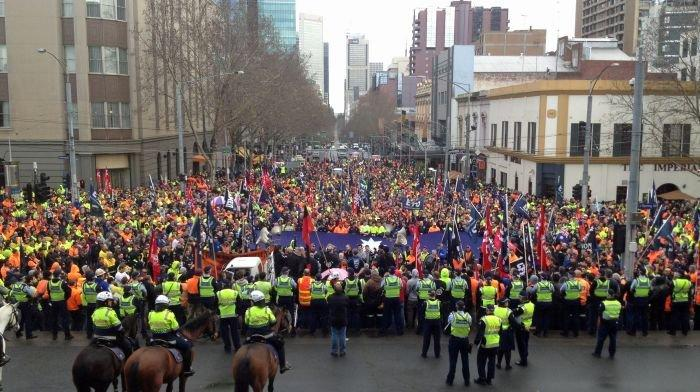 Construction workers rally over new anti-union rules