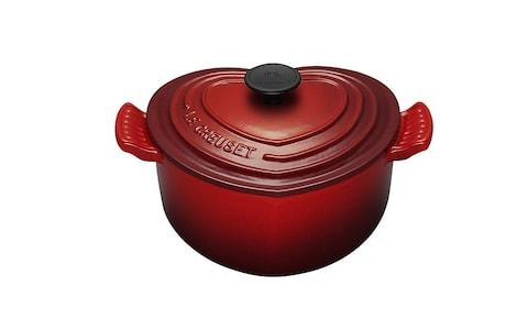 LeCreuset red heart-shaped casserole dish