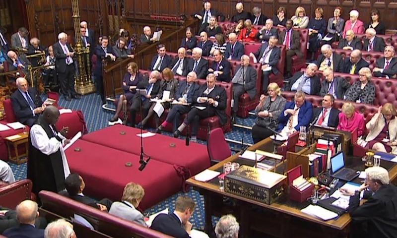 A video grab from he third day of The European Union (Notification of Withdrawal) Bill - Report Stage, in the House of Lords on 7 March.