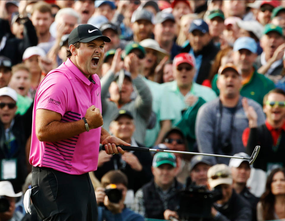 Patrick Reed reacts after winning his first Masters. (AP)