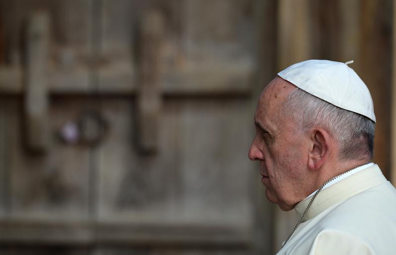 Pope Francis, pictured at the Shrine of Solmoe, in Dangjin, South Korea, on August 15, 2014