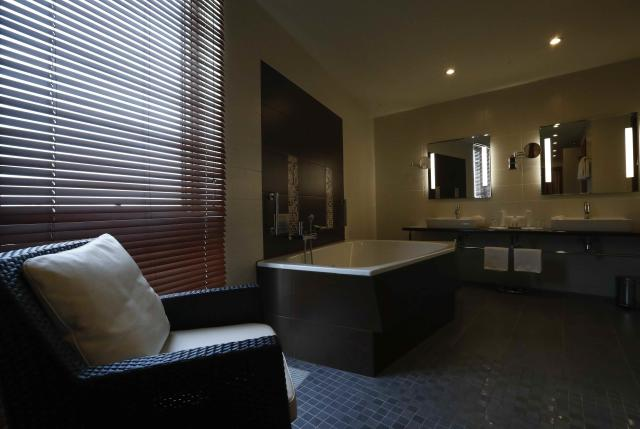 An interior view shows a bathroom in a presidential suite of the Radisson Blu hotel, which was chosen to be the venue specific team hotel during the 2018 FIFA World Cup, in Kaliningrad, Russia April 12, 2018. REUTERS/Sergei Karpukhin