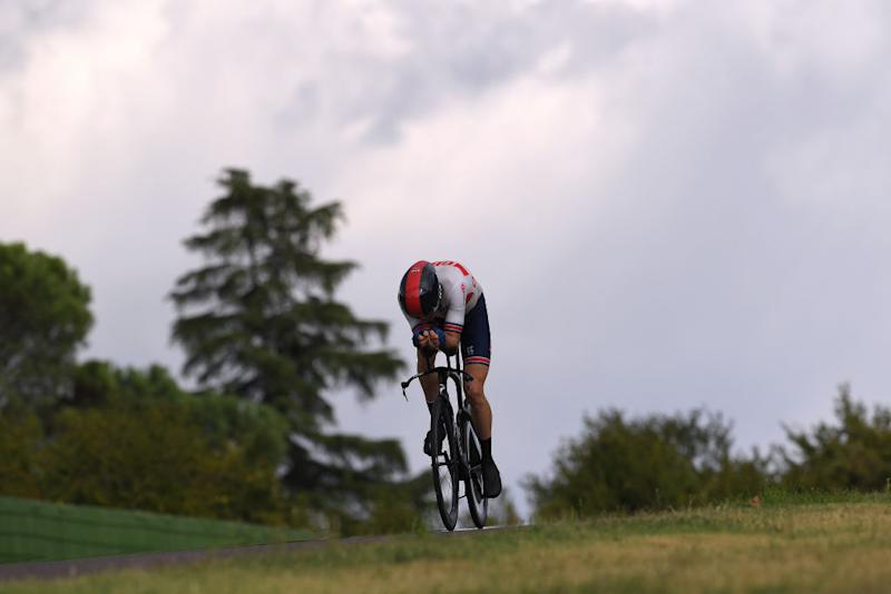IMOLA ITALY SEPTEMBER 25 Geraint Thomas Wales of The United Kingdom during the 93rd UCI Road World Championships 2020 Men Elite Individual Time Trial a 317km race from Imola to Imola Autodromo Enzo e Dino Ferrari ITT ImolaEr2020 Imola2020 on September 25 2020 in Imola Italy Photo by Tim de WaeleGetty Images