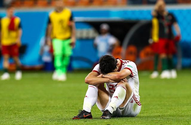 <p>Iran's Sardar Azmoun reacts after their 2018 FIFA World Cup Group B football match against Portugal at Mordovia Arena Stadium. The game ended in a 1:1 draw. Stanislav Krasilnikov/TASS (Photo by Stanislav Krasilnikov\TASS via Getty Images) </p>