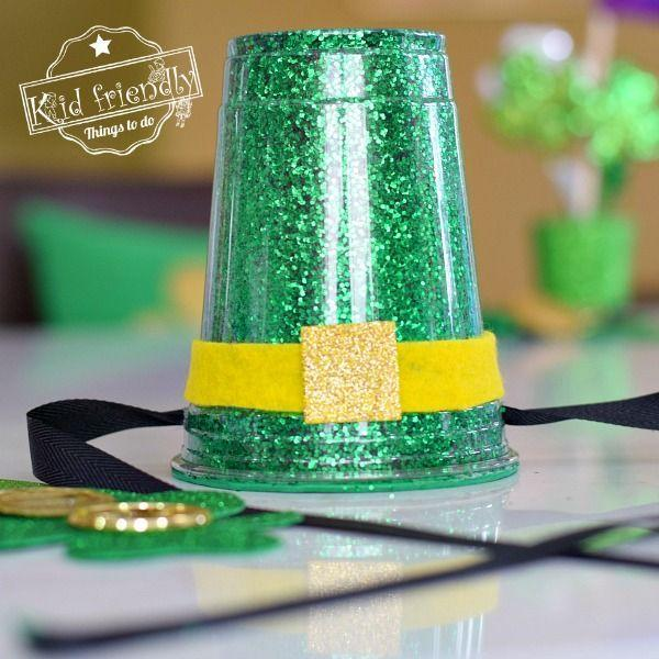"""<p>You can make these sparkling green hats with your kids to decorate throughout your house.</p><p><strong>Get the tutorial at <a href=""""https://kidfriendlythingstodo.com/making-a-leprechaun-hat-for-st-patricks-day-a-fun-craft/"""" rel=""""nofollow noopener"""" target=""""_blank"""" data-ylk=""""slk:Kid Friendly Things to Do"""" class=""""link rapid-noclick-resp"""">Kid Friendly Things to Do</a>.</strong></p><p><strong><a class=""""link rapid-noclick-resp"""" href=""""https://www.amazon.com/Glue-Gun-TopElek-Temperature-Projects/dp/B0776MFZ2W/?tag=syn-yahoo-20&ascsubtag=%5Bartid%7C10050.g.4036%5Bsrc%7Cyahoo-us"""" rel=""""nofollow noopener"""" target=""""_blank"""" data-ylk=""""slk:SHOP HOT GLUE GUNS"""">SHOP HOT GLUE GUNS</a><br></strong></p>"""