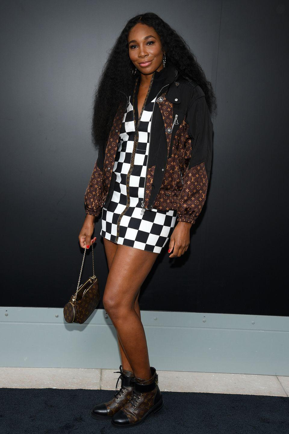<p><strong>6 October </strong>Venus Williams made a statement in a checked Louis Vuitton mini-dress and lace-up boots. </p>