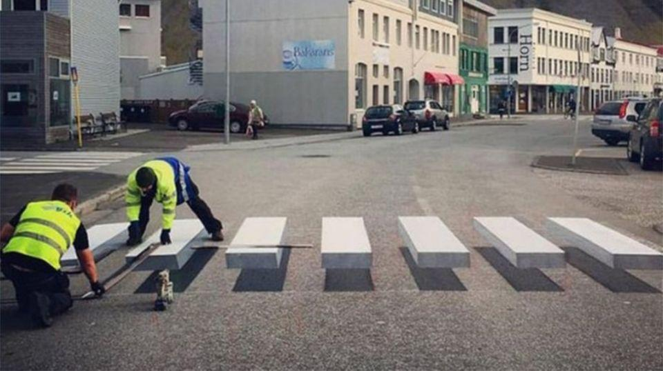 A street painting crew spent several weeks perfecting the design. Source: Twitter