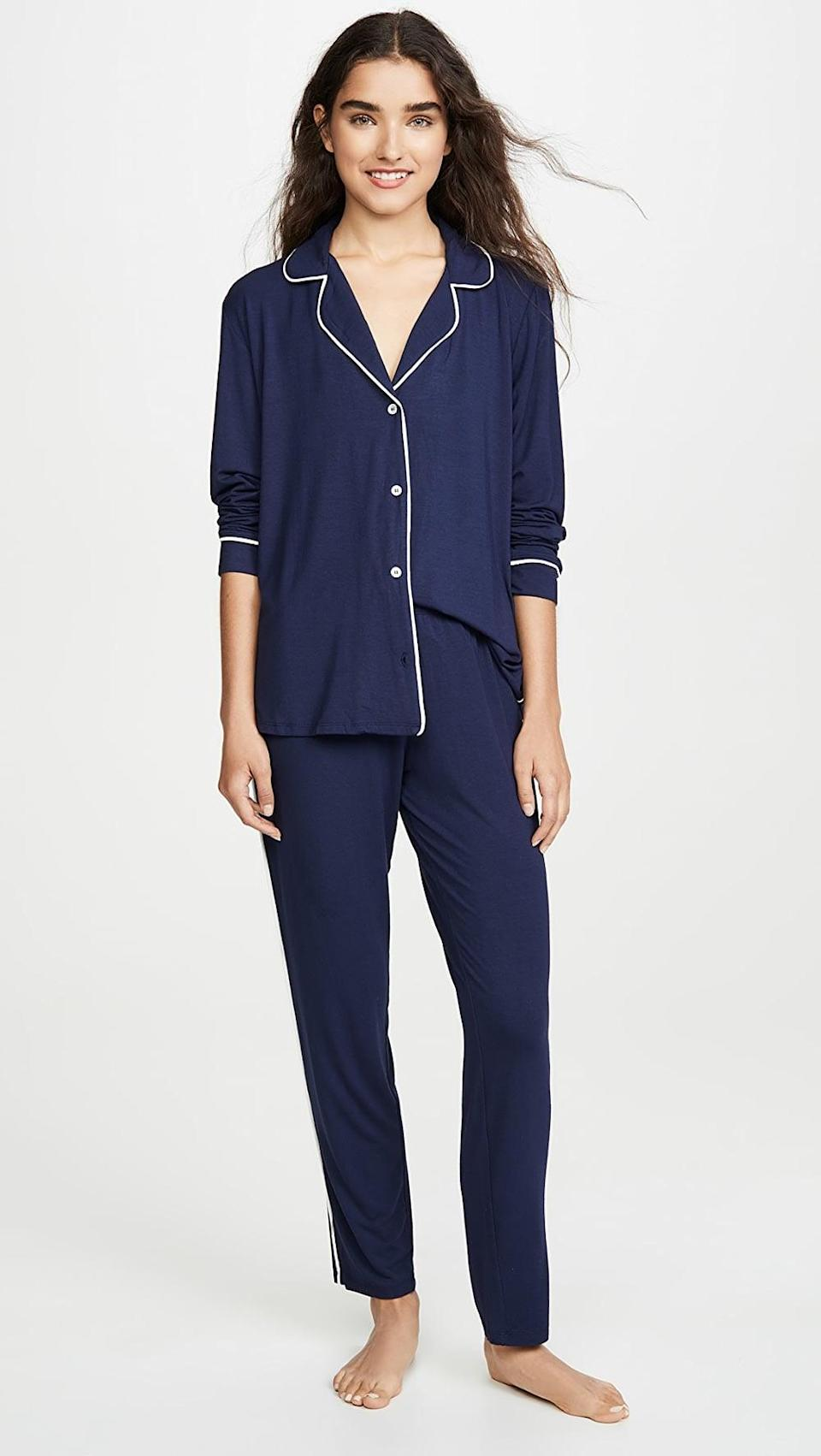 <p>They'll never want to change out of this soft <span>Eberjey Gisele The Tuxedo PJ Set</span> ($129).</p>