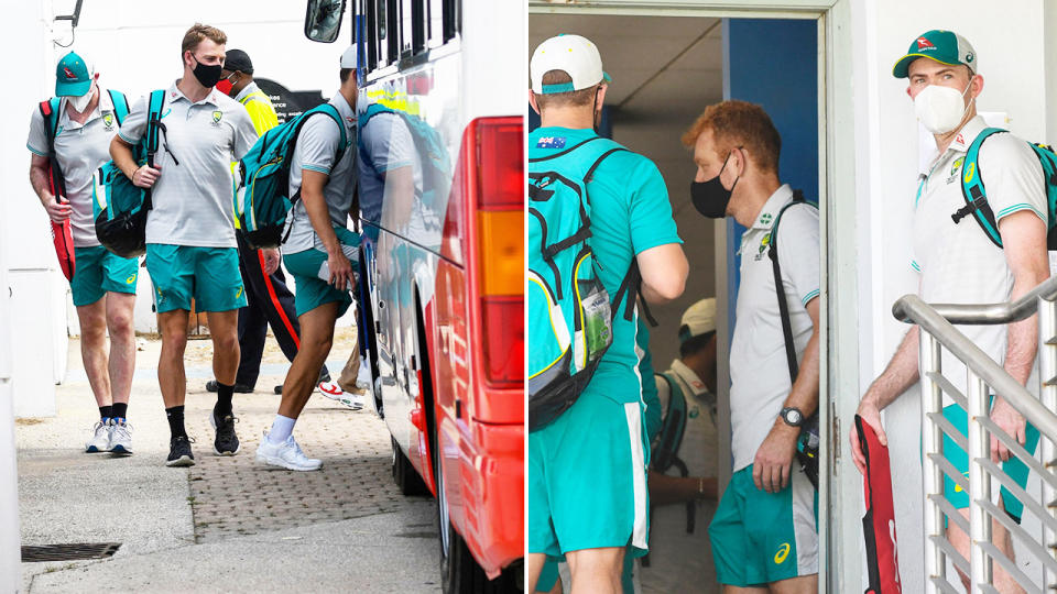 Aussie players, pictured here being rushed back to their hotel after the second ODI was abandoned.
