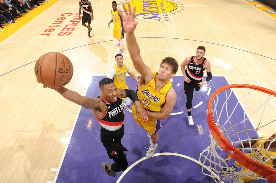 Blazers star Damian Lillard drives to the basket on his way to 39 points against the Lakers. (Getty Images)