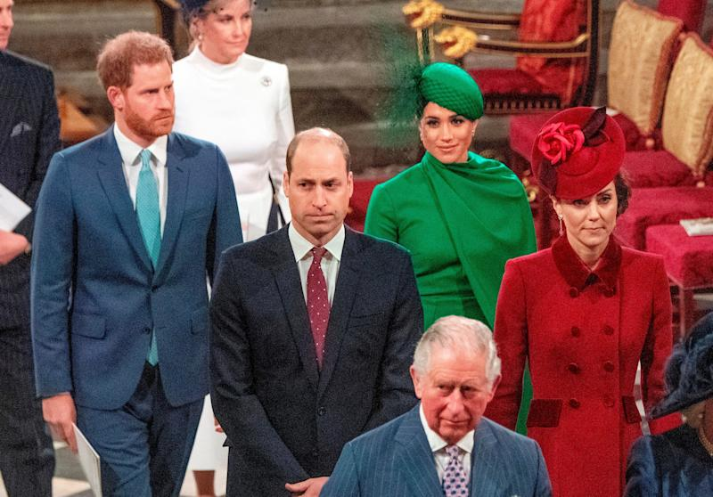 Britain's Prince Harry, Duke of Sussex (L) and Britain's Meghan, Duchess of Sussex (2nd R) follow Britain's Prince William, Duke of Cambridge (C) and Britain's Catherine, Duchess of Cambridge (R) as they depart Westminster Abbey after attending the annual Commonwealth Service in London on March 9, 2020. - Britain's Queen Elizabeth II has been the Head of the Commonwealth throughout her reign. Organised by the Royal Commonwealth Society, the Service is the largest annual inter-faith gathering in the United Kingdom. (Photo by Phil Harris / POOL / AFP) (Photo by PHIL HARRIS/POOL/AFP via Getty Images) (Photo: PHIL HARRIS via Getty Images)