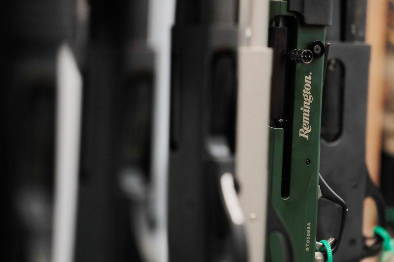 Remington shotguns are displayed during the annual National Rifle Association (NRA) convention in Dallas, Texas