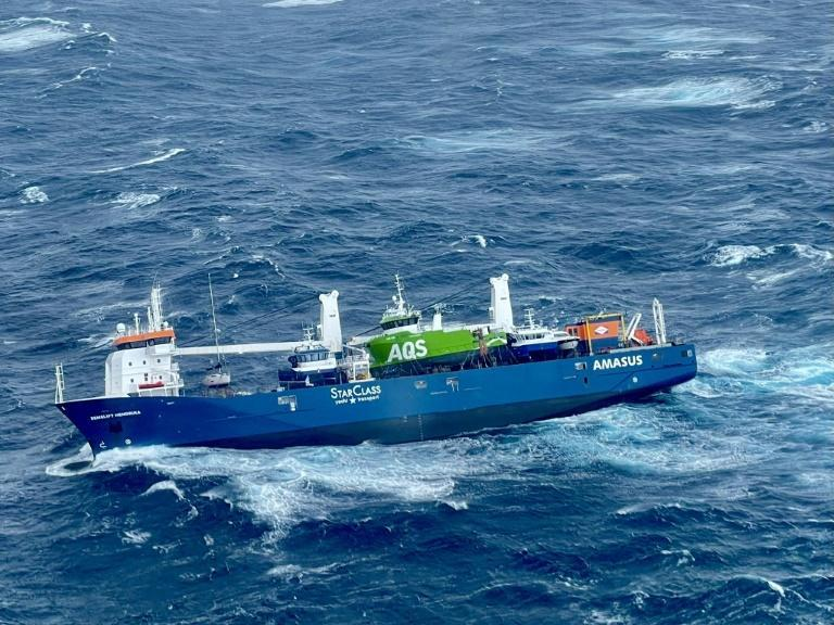 """The """"Eemslift Hendrika"""" made a distress call Monday, reporting a heavy list after stormy weather displaced some of its cargo."""