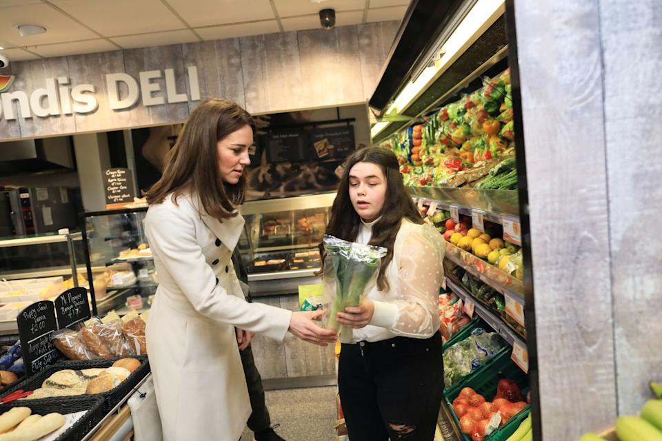 Department of Foreign Affairs and the British Embassy handout photo of the Duchess of Cambridge visiting a Londis supermarket in Prosperous, Co Kildare, during her three day visit to the Republic of Ireland.