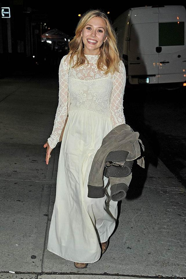 The Olsen twins' little sis Elizabeth looked ready to walk down the aisle in the white gown she donned for an event in September. (9/20/2011)
