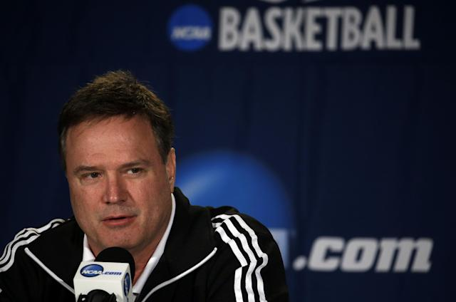 Kansas head coach Bill Self speaks during a news conference for the third-round game of the NCAA college basketball tournament Saturday, March 22, 2014, in St. Louis. Kansas is scheduled to play Stanford on Sunday. (AP Photo/Jeff Roberson)