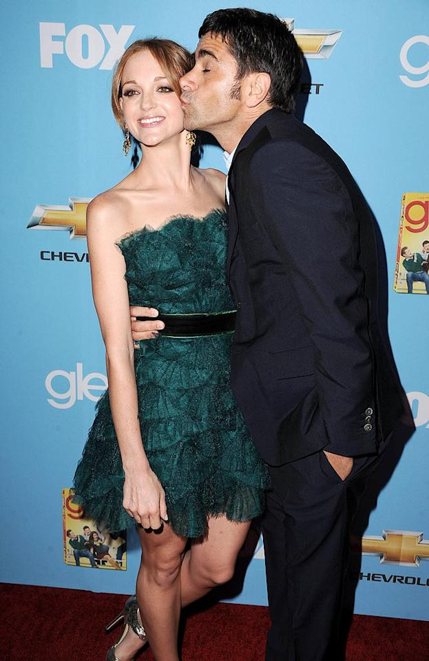 "John Stamos gave his future onscreen love interest Jayma Mays a big smooch. Steve Granitz/<a href=""http://www.wireimage.com"" target=""new"">WireImage.com</a> - September 7, 2010"