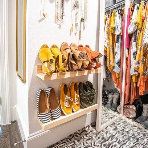 """<p>You probably already know that picture ledges are a brilliant way to mix up your wall decor right now, but they have a functional use too - as vertical shoe storage, so your trainers take up way less room in the hall, or in the cupboard under the stairs.</p><p><a class=""""link rapid-noclick-resp"""" href=""""https://go.redirectingat.com?id=127X1599956&url=https%3A%2F%2Fwww2.hm.com%2Fen_gb%2Fproductpage.0916363001.html%3Fgclid%3DCj0KCQjw1ouKBhC5ARIsAHXNMI94699opURP70pr5wwtRS4PVzwDpVcg6JCYhyqI1IZg_814pmuwIb4aAvleEALw_wcB&sref=https%3A%2F%2Fwww.cosmopolitan.com%2Fuk%2Finteriors%2Fg3725%2Fclever-storage-solutions%2F"""" rel=""""nofollow noopener"""" target=""""_blank"""" data-ylk=""""slk:SHOP NOW"""">SHOP NOW</a></p><p><a href=""""https://www.instagram.com/p/B9XxHTdAUVp/"""" rel=""""nofollow noopener"""" target=""""_blank"""" data-ylk=""""slk:See the original post on Instagram"""" class=""""link rapid-noclick-resp"""">See the original post on Instagram</a></p>"""