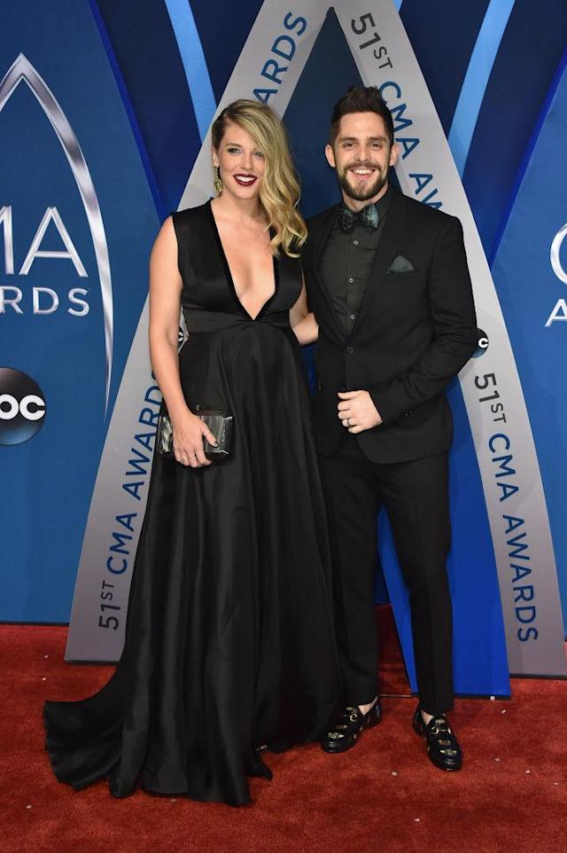 <p>The couple looked sharp in all black. (Photo: Getty Images) </p>