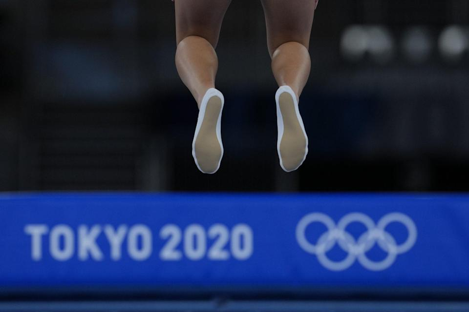 <p>Bryony's British teammate Gallagher flying high.</p>