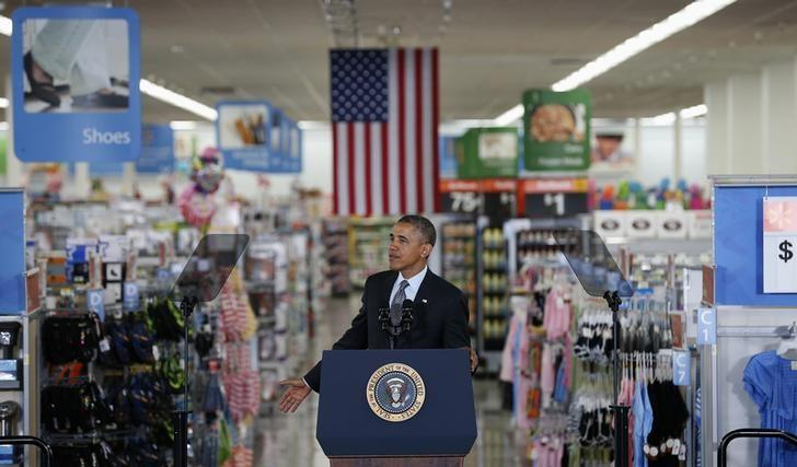 U.S. President Barack Obama speaks about energy during a visit to a Wal-Mart store in Mountain View, California