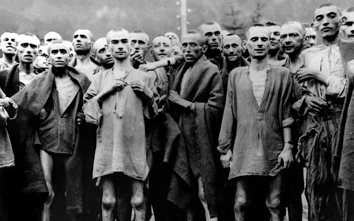 GERMANY - JANUARY 01: Deportees Who Survived The Death Marches Of The Massacre Of Gardelegen (Saxony) Perpetrated By The Nazis On The Run. In April 1945. They Are Prisoners Of The Camp Neuengamme Hannover-Stocken The Ss Led To Bergen-Belsen And Then To The Military Camp (Photo by Keystone-France/Gamma-Keystone via Getty Images) - Keystone-France/ Gamma-Keystone