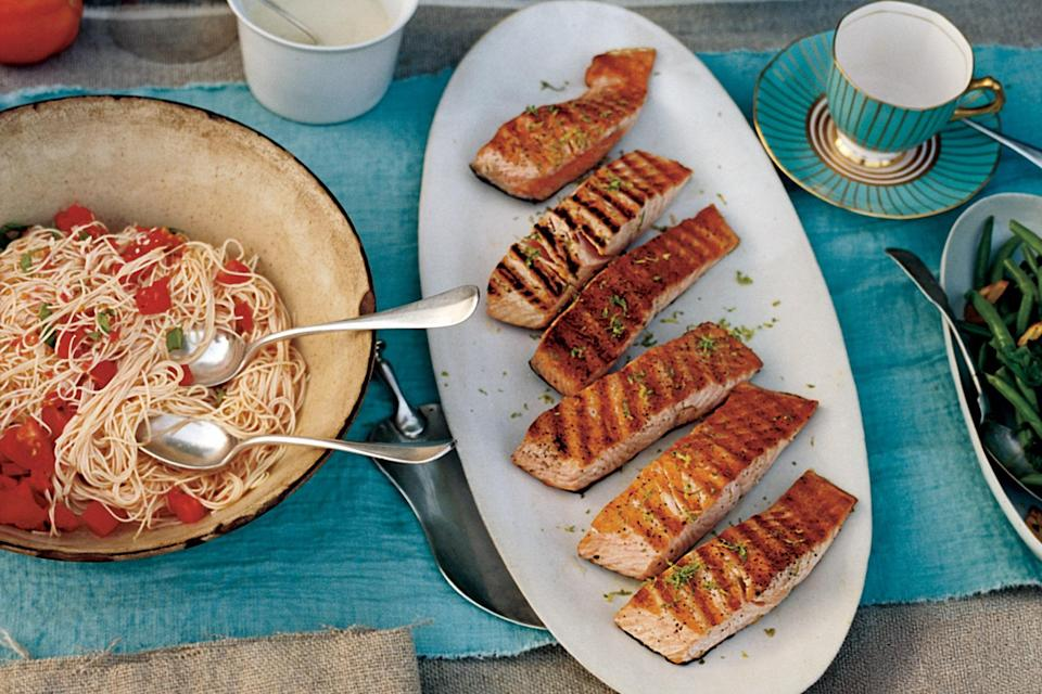 "The simple lime butter sauce for this grilled salmon recipe can be made one day ahead. Just store it in the fridge, covered, and stir it before using. <a href=""https://www.epicurious.com/recipes/food/views/grilled-salmon-with-lime-butter-sauce-1222181?mbid=synd_yahoo_rss"" rel=""nofollow noopener"" target=""_blank"" data-ylk=""slk:See recipe."" class=""link rapid-noclick-resp"">See recipe.</a>"