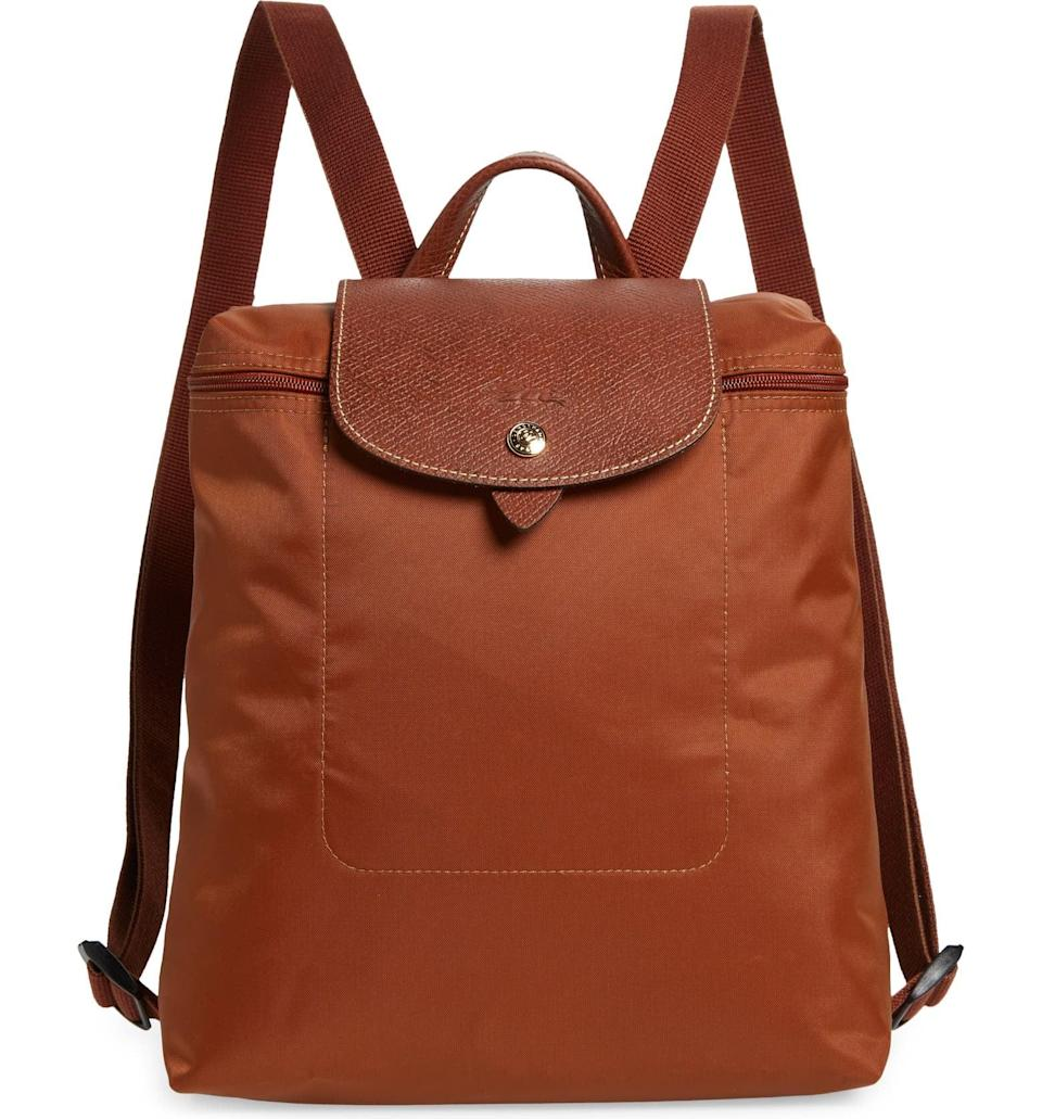 <p>The two-strap style of the <span>Longchamp Le Pliage Backpack</span> ($125) makes it great to carry everything without feeling weighed down. The color is particularly fall-friendly, while the chic silhouette is timeless.</p>