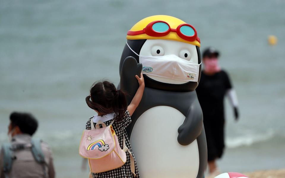 A visitor examines a statue of Pengsoo at a beach in the southern port city of Busan, South Korea - YONHAP/EPA-EFE/Shutterstock