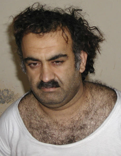 FILE - In this March 1, 2003 file photo provided by the United States Government, Khalid Sheikh Mohammed, the alleged Sept. 11, 2001 mastermind, is seen shortly after his capture in Pakistan. Mohammed is one of five men who will be tried at the U.S. Navy Base in Guantanamo Bay, Cuba, for planning and aiding the Sept. 11 attacks, charging them with war crimes in a special tribunal for wartime offenses known as a military commission. (AP Photo/File)