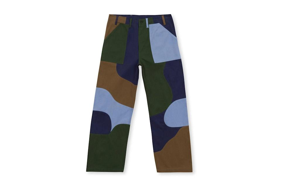 """$240, Brain Dead. <a href=""""https://wearebraindead.com/collections/spring-21/products/patchwork-military-pant-navy"""" rel=""""nofollow noopener"""" target=""""_blank"""" data-ylk=""""slk:Get it now!"""" class=""""link rapid-noclick-resp"""">Get it now!</a>"""