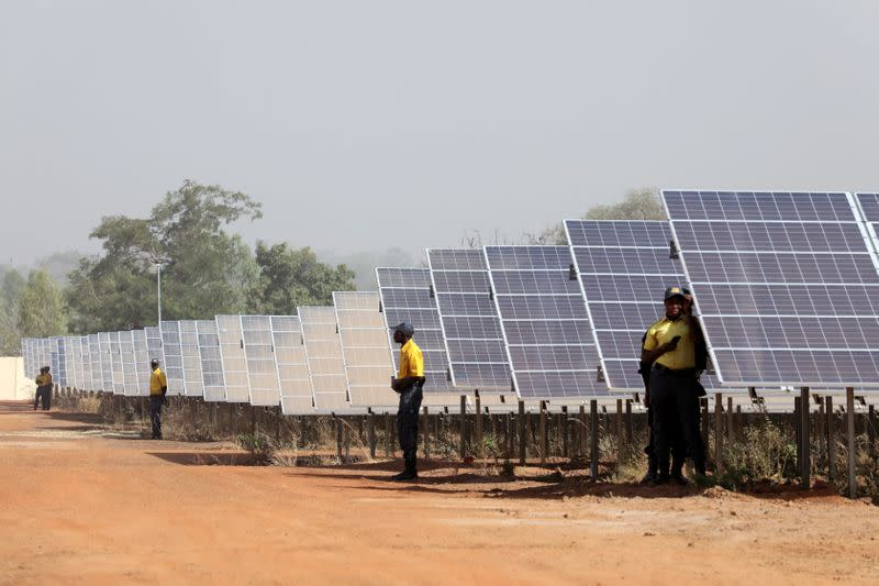 FILE PHOTO: Solar panels are seen during the inauguration ceremony of the solar energy power plant in Zaktubi