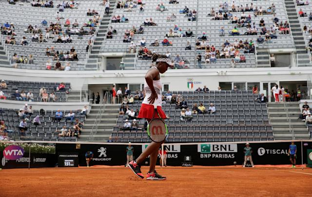Tennis - WTA Premier 5 - Italian Open - Foro Italico, Rome, Italy - May 17, 2018 Venus Williams of the U.S. in action during her third round match against Estonia's Anett Kontaveit REUTERS/Max Rossi