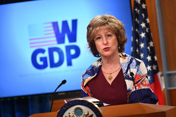 Deputy Administrator of USAID Bonnie Glick speaks during an event for the W-GDP, Global Womens Development and Prosperity Initiative plan, at the State Department in Washington, DC on 11 August 2020 ((AFP via Getty Images))