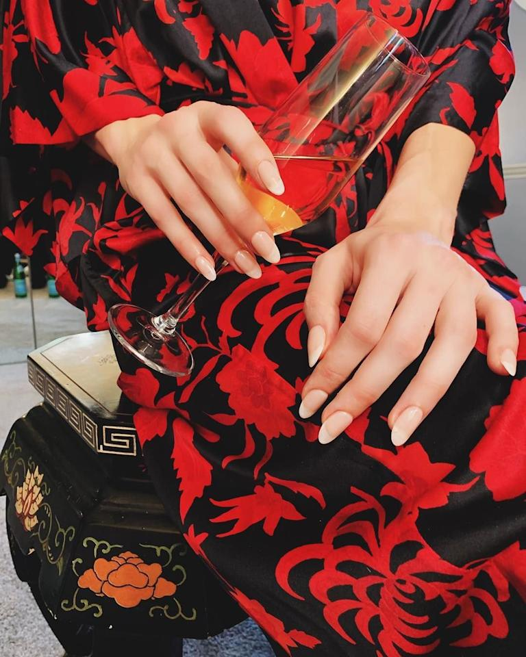 <p>Celebrity nail artist Ashlie Johnson gave Brie Larson a soft French manicure for the 2019 Oscars. She filed the actress' nails into an almond shape to keep it modern. </p>
