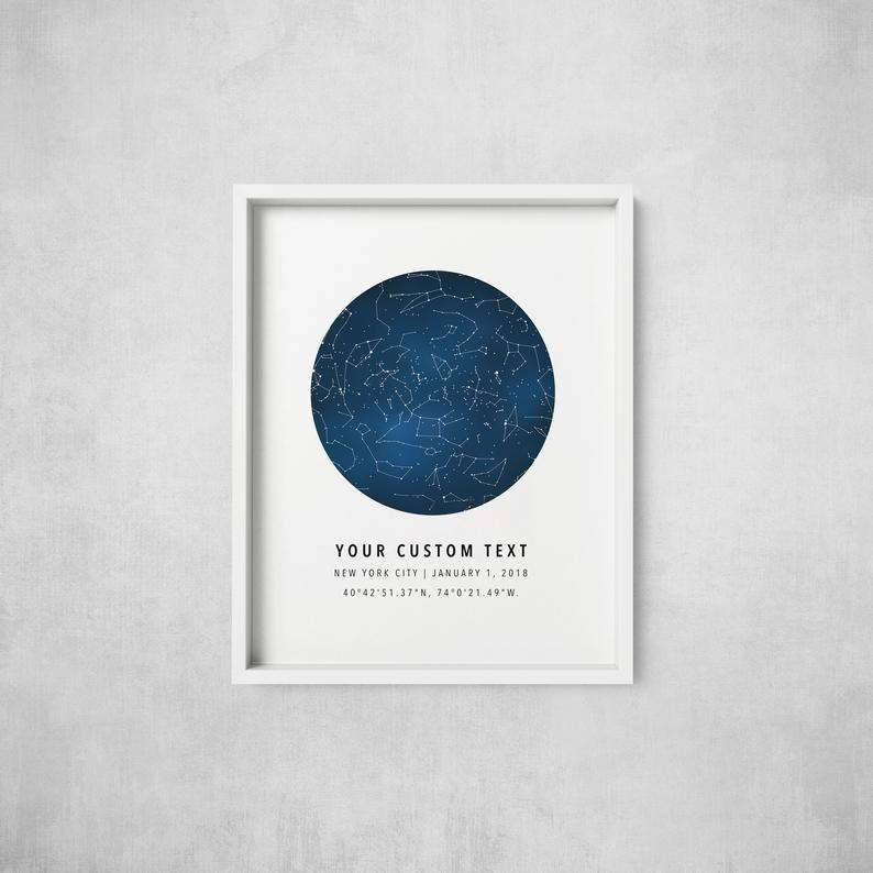 """<p><strong>TheMoonCorner</strong></p><p>etsy.com</p><p><strong>$23.75</strong></p><p><a href=""""https://go.redirectingat.com?id=74968X1596630&url=https%3A%2F%2Fwww.etsy.com%2Flisting%2F653198011%2Fcustom-star-map-constellation-chart-map&sref=https%3A%2F%2Fwww.bestproducts.com%2Flifestyle%2Fg35618445%2Fsympathy-gift-ideas%2F"""" rel=""""nofollow noopener"""" target=""""_blank"""" data-ylk=""""slk:Shop Now"""" class=""""link rapid-noclick-resp"""">Shop Now</a></p><p>There are so many creative ways to memorialize the loss of a loved one, but this one is truly heaven-sent. Using your chosen date, location, and time, this Etsy seller creates a custom artwork of the constellations in the night sky on a loved one's birthday or anniversary. </p>"""