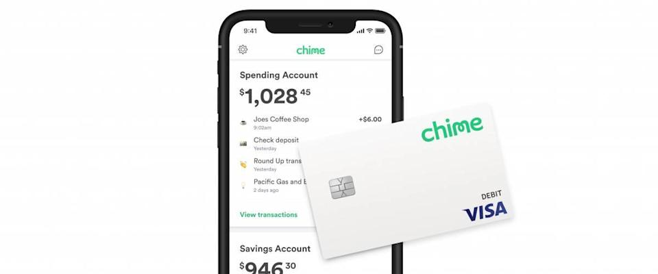 iPhone with Chime app open and Chime debit card on top.