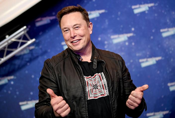 SpaceX and Tesla chief Elon Musk poses on the red carpet of the Axel Springer Award 2020 on 1 December, 2020  (Getty Images)