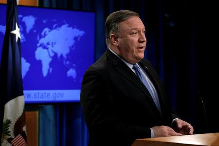 FILE PHOTO: Secretary of State Mike Pompeo speaks during a news conference in Washington